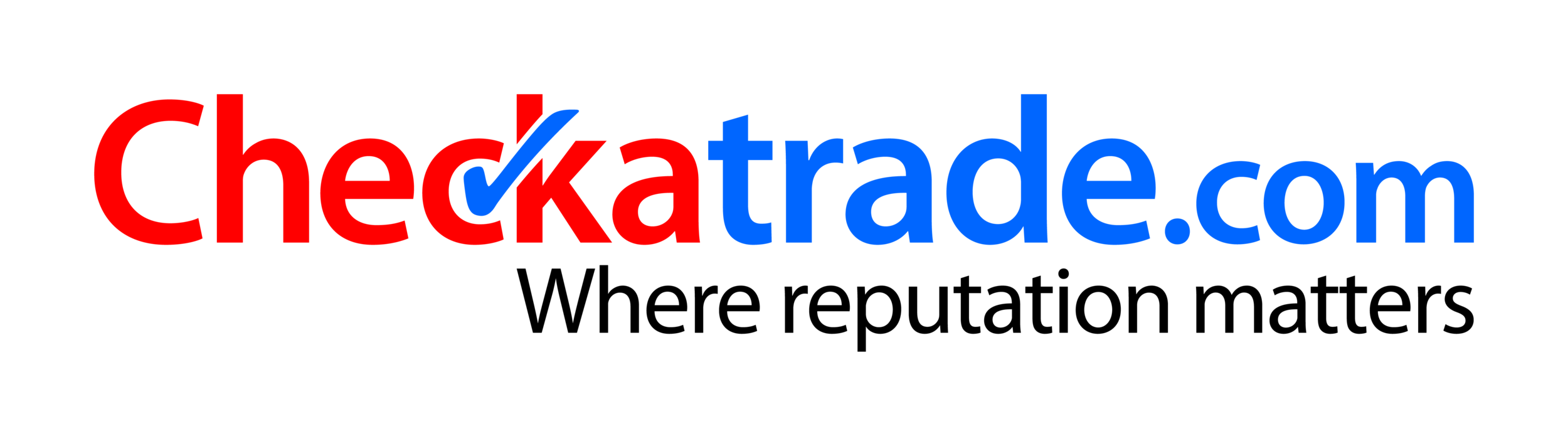 Red and blue Checkatrade logo, where reputation matters written in black