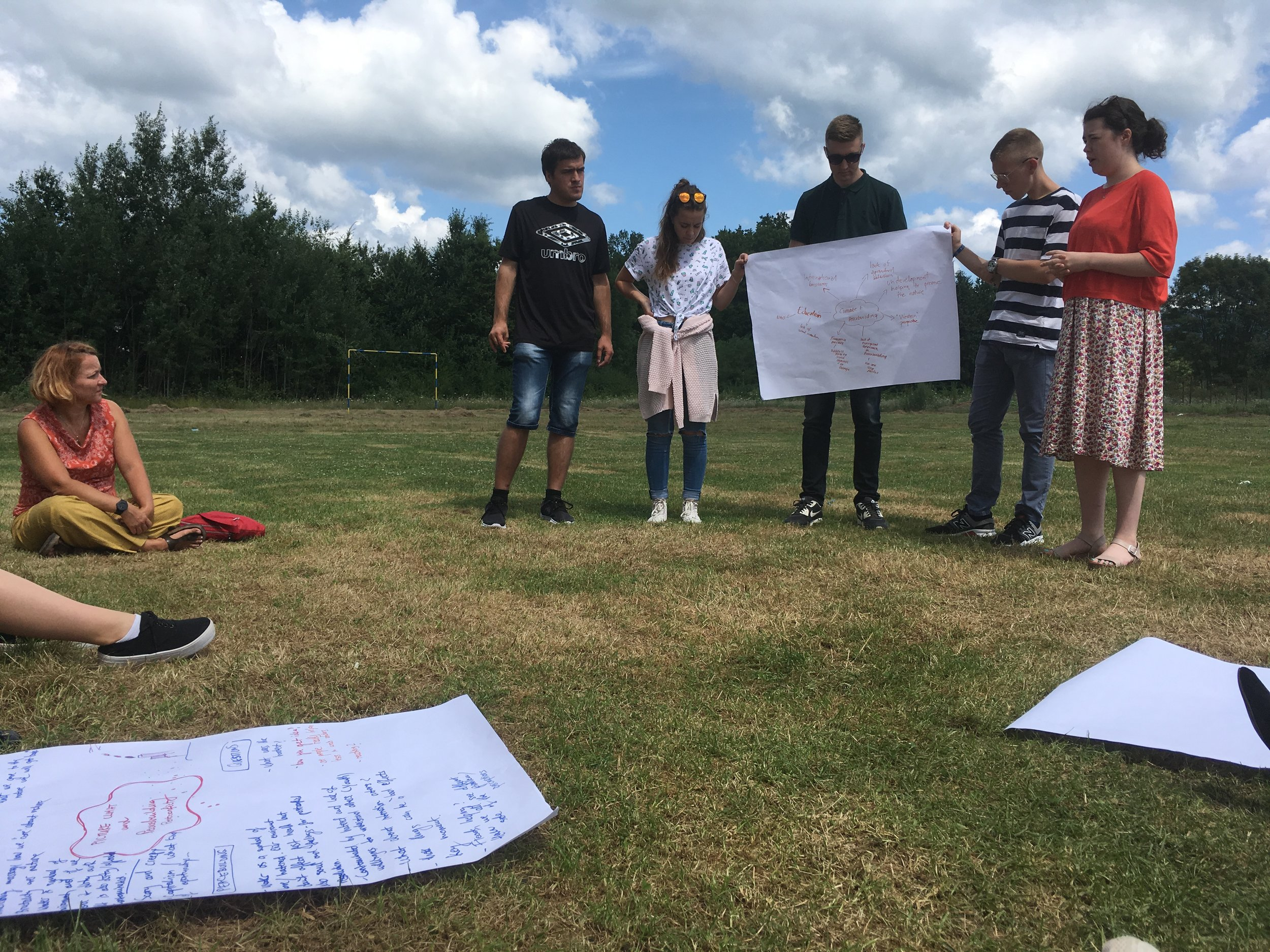 Participants in the POP and theatre projects come together to discuss issues of climate change and environment in Kevljani, Bosnia and Herzegovina. Photo: Agnes Czajka