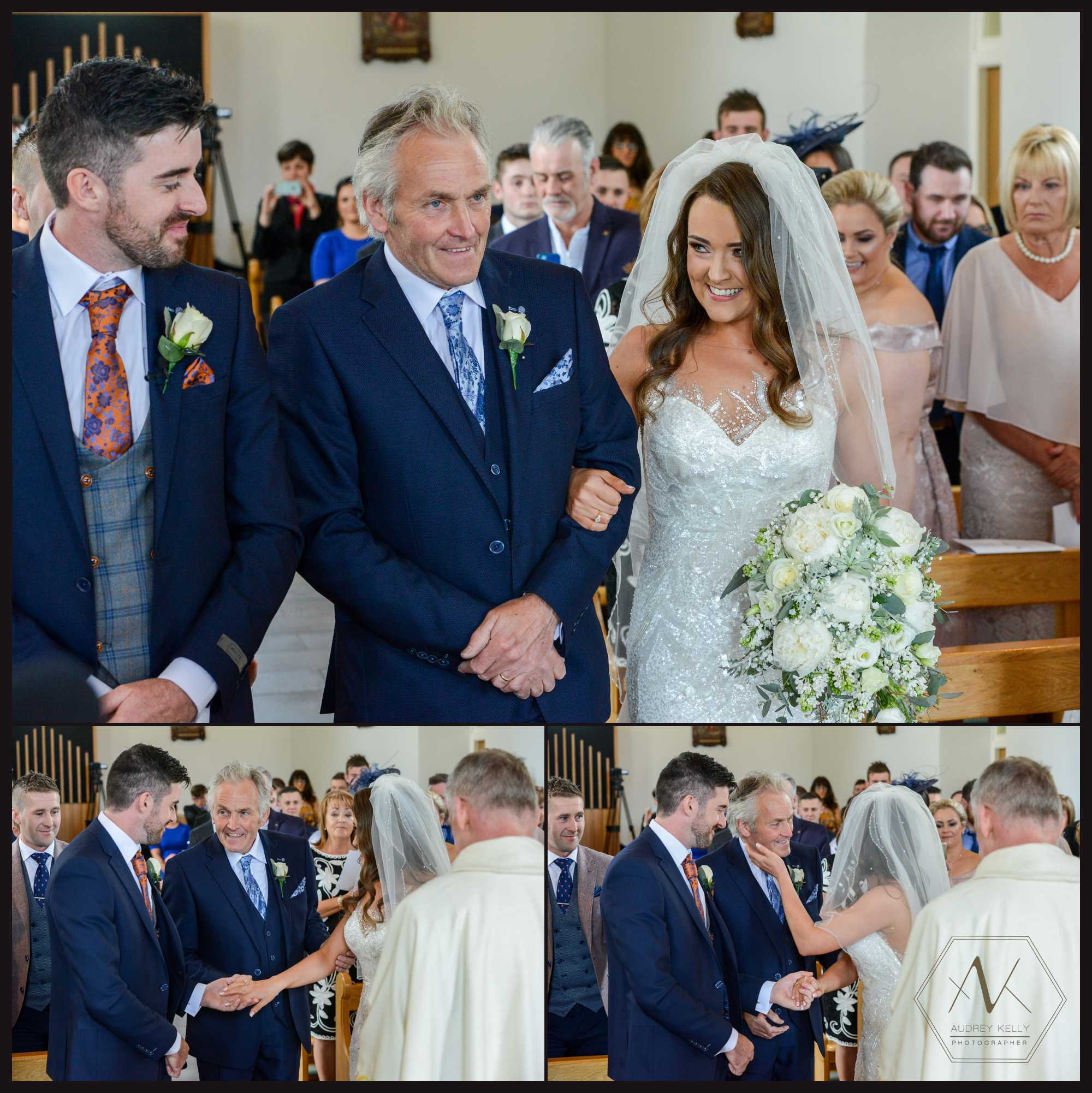 The first look as beautiful blaithnaid meets lee at the end of the aisle at their Ceremony location: Drumragh Parish, St Marys Feriagh Road, Omagh
