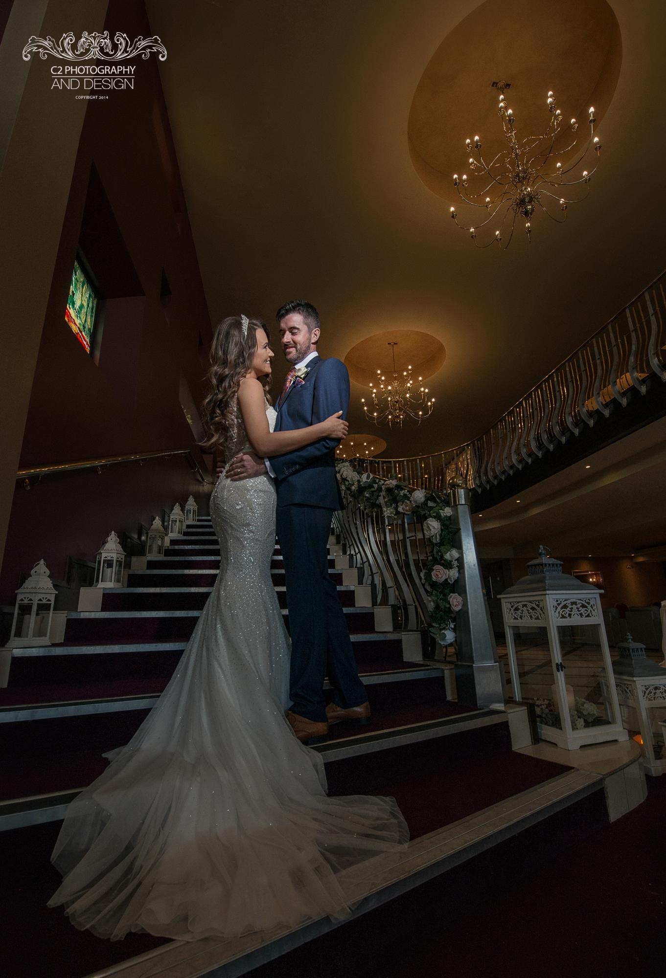 staircase at wedding party Reception location: Jacksons Hotel, Ballybofey, co Donegal