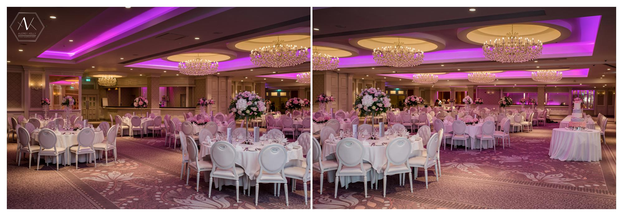 the 'pink' room is just stunning with its romantic lighting, elegant table settings and warm tones