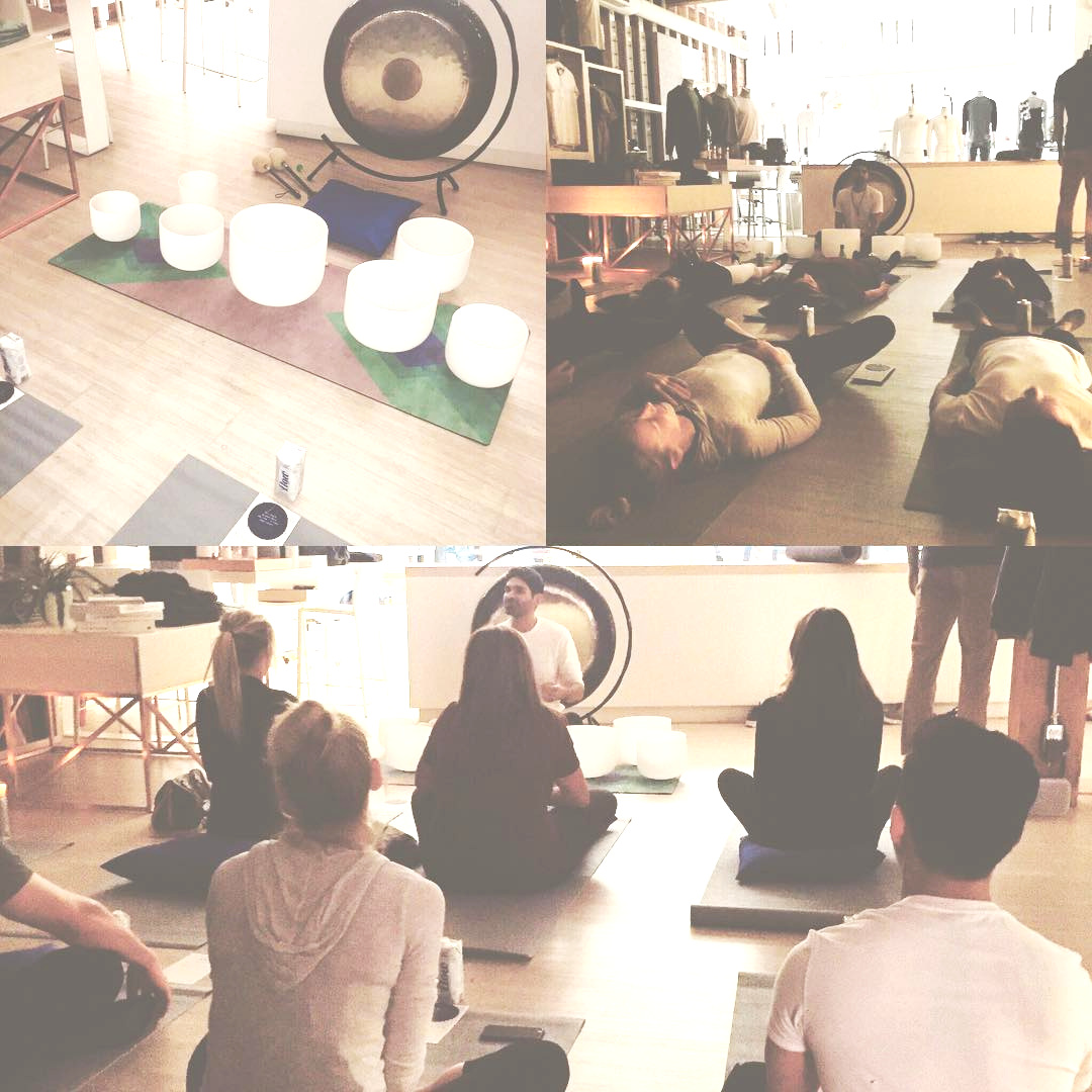 Farhad facilitating a corporate wellness sound healing session at Kit and Ace in Gastown, Vancouver