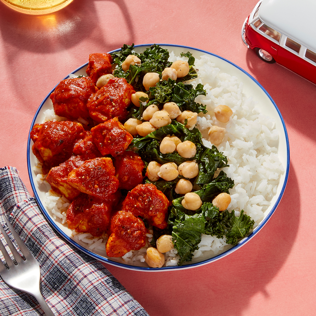Tasty Kabob-Style Curry Chicken & Rice - with Sautéed Kale & Chickpeas (for customers on 2 serving plan only)