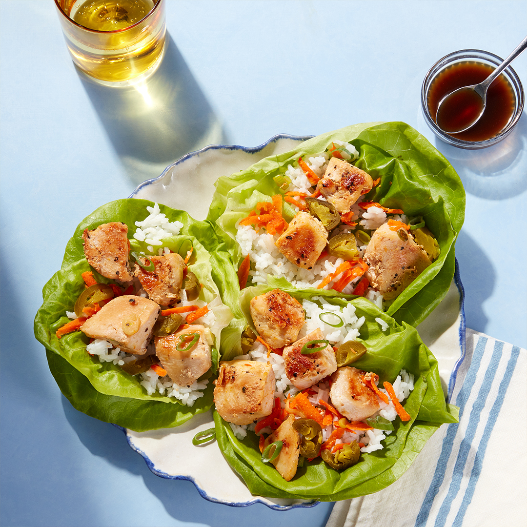 Portland-Inspired Chicken Lettuce Cups - with Jasmine Rice & Garlic-Soy Sauce (for customers on 2 serving plan only)