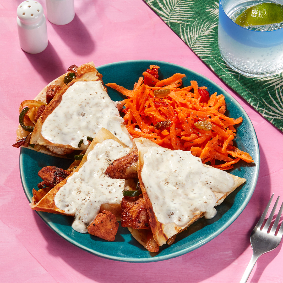 San Francisco-Inspired Smothered Chicken Quesadillas - with Spicy Carrot Slaw