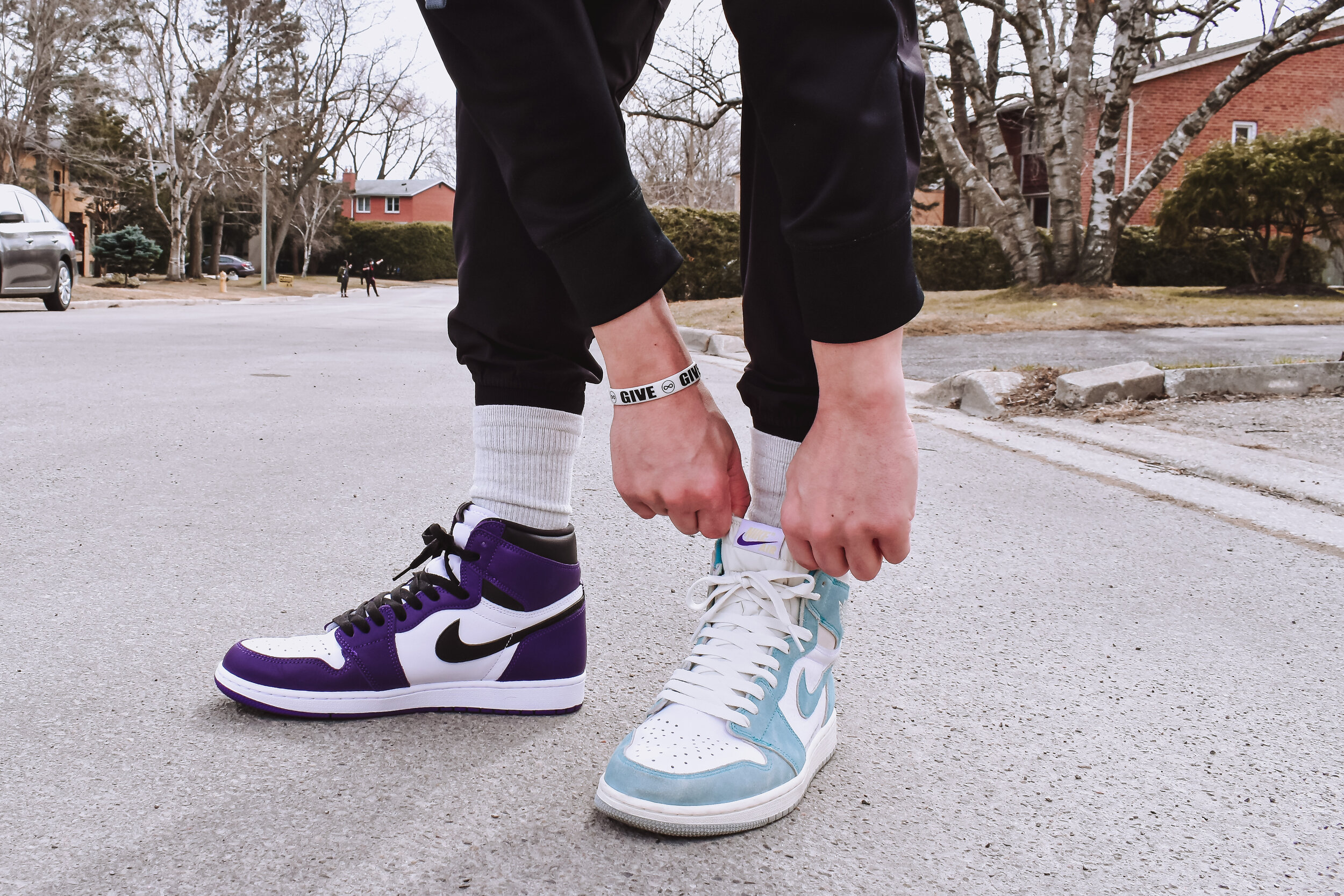 Jordan 1 Court Purple (left), the symbol of greatness and only used to be worn by royals, and Jordan 1 Turbo Green (right), paying tribute to the Charlotte, NC for hosting its first NBA All Star Game // FLEUR BOOMSMA