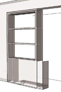 interieurbouw: vooraanzicht tv kast /scheidingswand 3d tekening