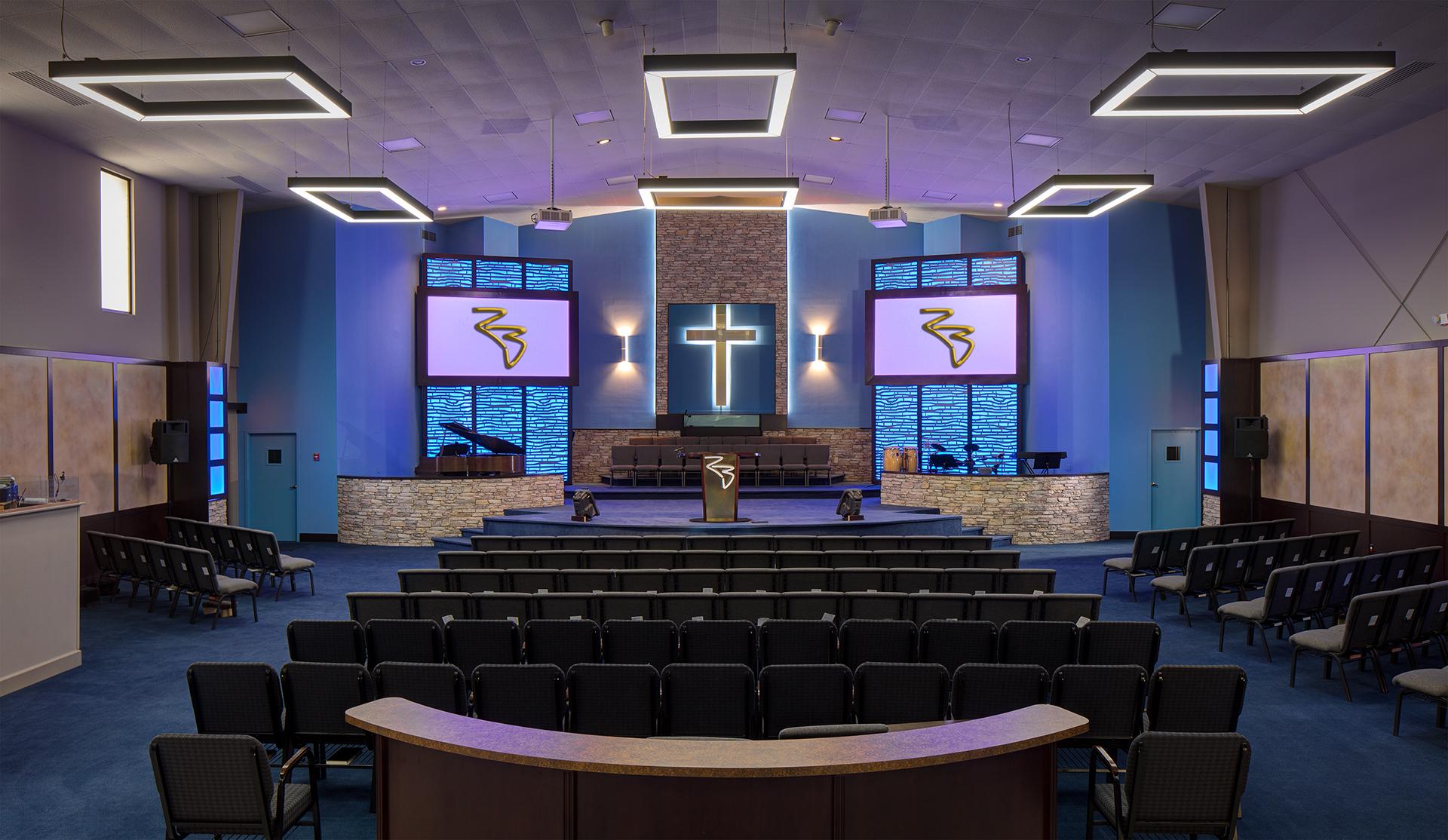Rock Bridge Baptist, photographed newly designed sanctuary, Norcross, GA