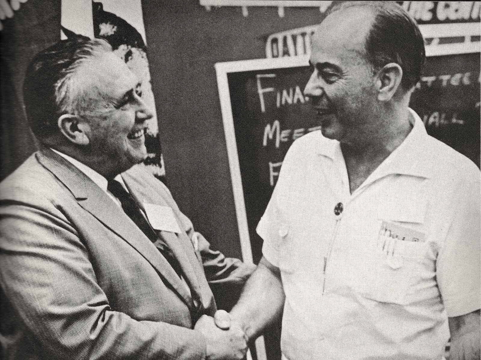 Former FFFC President Al Albertoni (right) shakes hands with IAFF President William Buck after his election as IAFF Secretary-Treasurer. Albertoni and Al Whitehead are the only two Californians to serve in the position.