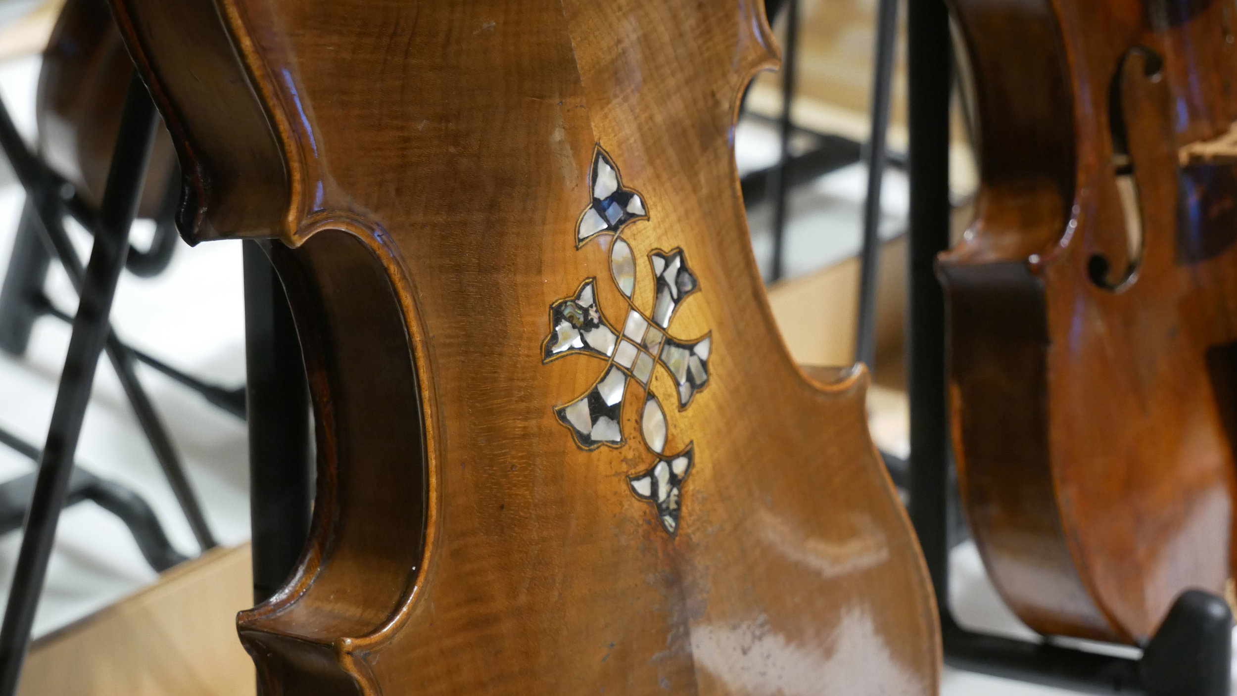 An instrument from the Violins of Hope collection, on display in the Nashville Public Library in 2018.