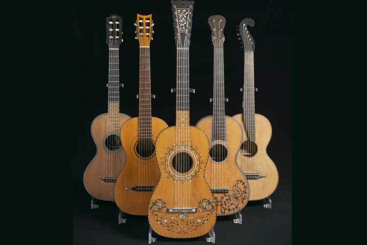 Early Baroque and Romantic-era classical guitars. ( Source :  St. Cecilia's Hall Collection, University of Edinburgh)