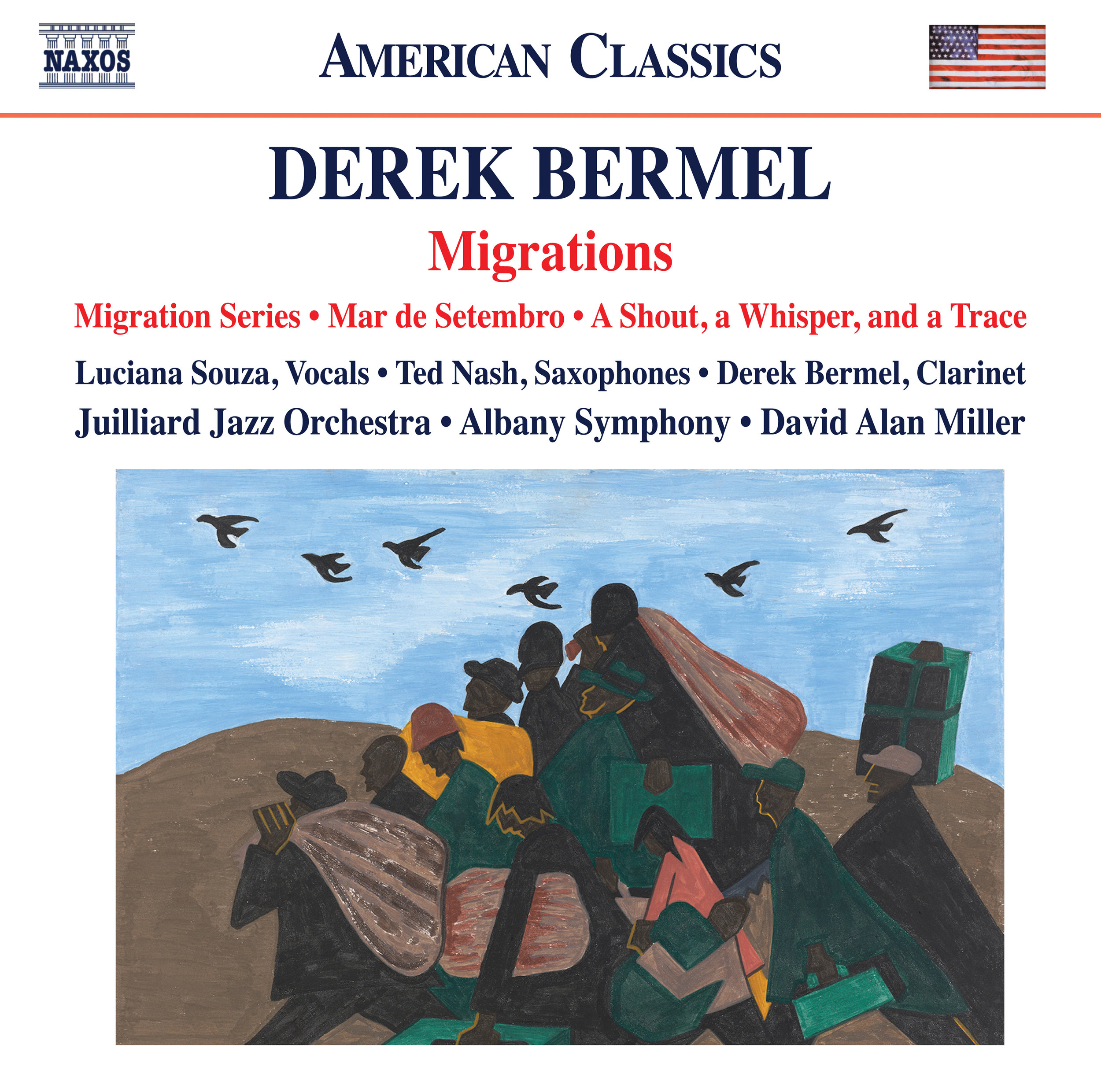 The album cover for Derek Bermel's latest Naxos release features Jacob Lawrence's  The Migration Series, Panel 3: From every southern town migrants left by the hundreds to travel north. , 1940–41.   Click here to see a full-size image of this painting and more!