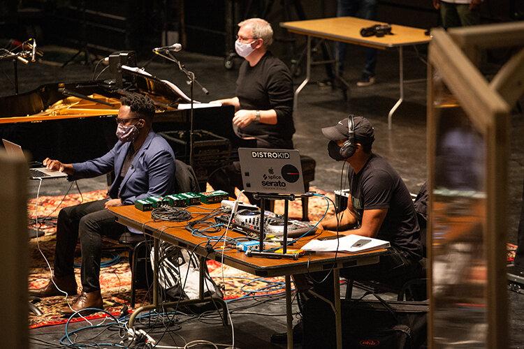 Will Liverman, Ryan Opera Center Music Director Craig Terry, and K-Rico running The Factotum  Workshop at Lyric Opera of Chicago.