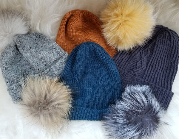 We have one color, basic stitch pattern hat samples