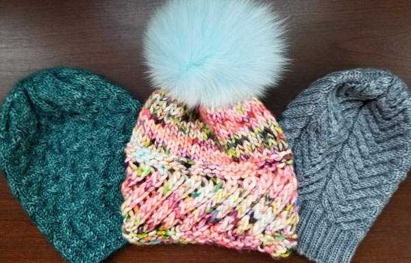 We have one color textured hat samples