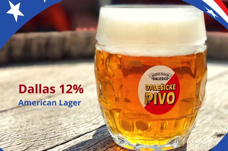 Dallas American lager 12% - Další ze série letošních příležitostných piv je právě na čepu!Speciální várka 4x chmeleného ležáku, kterou jsme pro Vás uvařili ze světlého sladu a dvou amerických aromatických odrůd chmele.