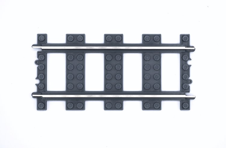 9V Compatible Straight 3D Printed Train Track — Brick Train Depot