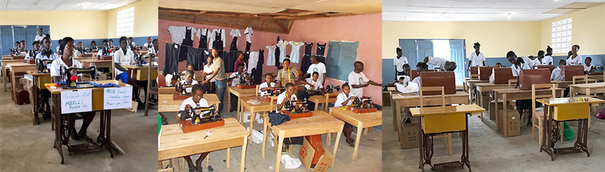 These photos demonstrate a vibrant classroom filled with the joy of learning. The students are busy making school uniforms, children's clothes, and dresses for church and special events. The class is so successful that the rosters and dormitories are filled to capacity with young girls who are eager to participate in this growing program. For many of these girls it is not simply the promise of an income, but a way of life that provides independence, self-sufficiency, and the time to make rational life decisions about their future.