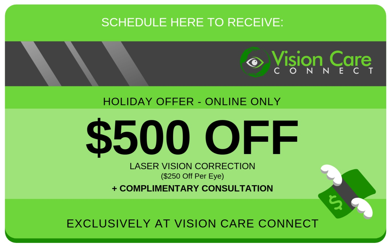 One voucher per person. Cannot be combined with other offers, coupons or promotions. Voucher must be present at initial consultation and may not be added afterwards. Complimentary consultation is valid for elective procedure consultations only. $500 off is for bilateral surgery ($250 per eye).