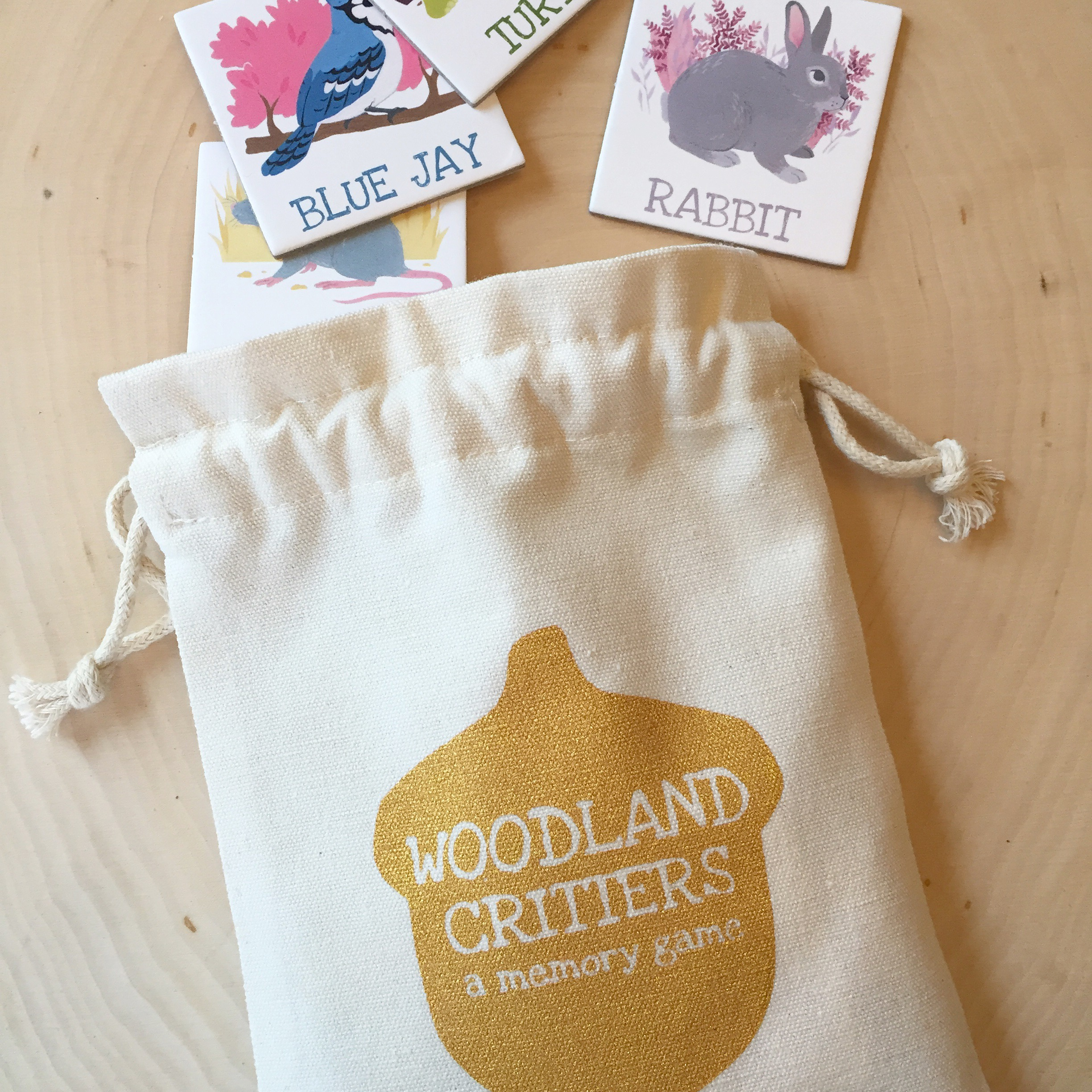 Woodland CRitters - Woodland Critters is a simple learning game for those young at heart. Whimsical woodland animals adorn each tile with corresponding text for fun word association. This enchanting memory game comes complete with 12 matching pairs, 24 tiles in total.