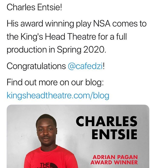 We couldn't be prouder of our Actor-Writer Showcase alumnus Charles Entsie, who has been announced as the winner of the 2019 Adrian Pagan Award 🌟