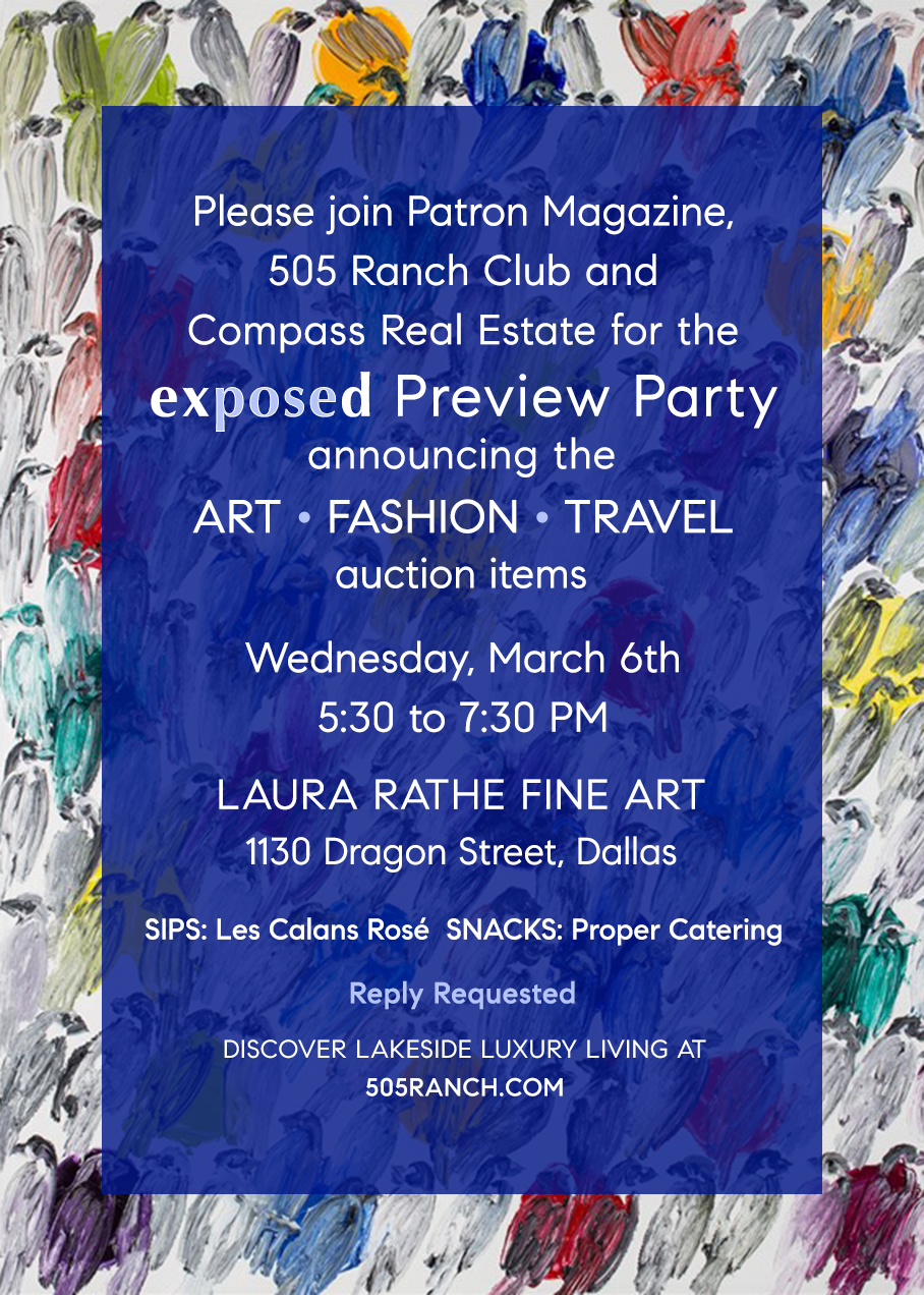 Reveal Party - Join us at the Laura Rathe Fine Art Gallery on Wednesday, March 6th, 5:30 to 7:30 for the official reveal of our 2019 Exposed auction items.
