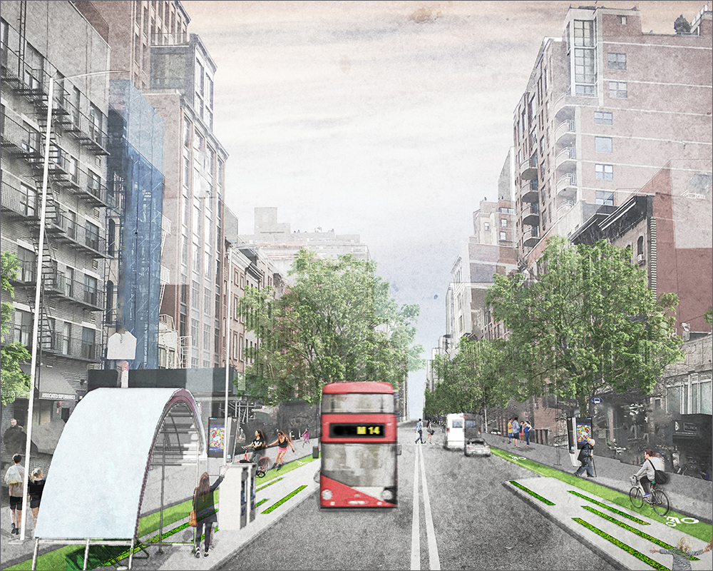 JWA Places Third in L-Ternatives Competition - MARCH 2017Back in January 2017, JWA submitted designs and plans to Transportation Alternatives' and Gothamist's joint competition to re-imagine 14th Street in light of the impending L-Train shutdown. JWA is excited to announce we placed in third! We are so proud of our designers and hope some of our ideas will come to fruition. Read our full proposal here.