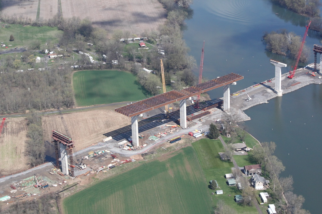 Fred Keller was a strong proponent of Pennsylvania's Act 89 to invest in Pennsylvania's roads, bridges, public transportation, ports and more to help move the Commonwealth's economy forward. ABOVE: Construction of the Central Susquehanna Valley Thruway River Bridge Piers 3 through 8 (source: PennDOT).