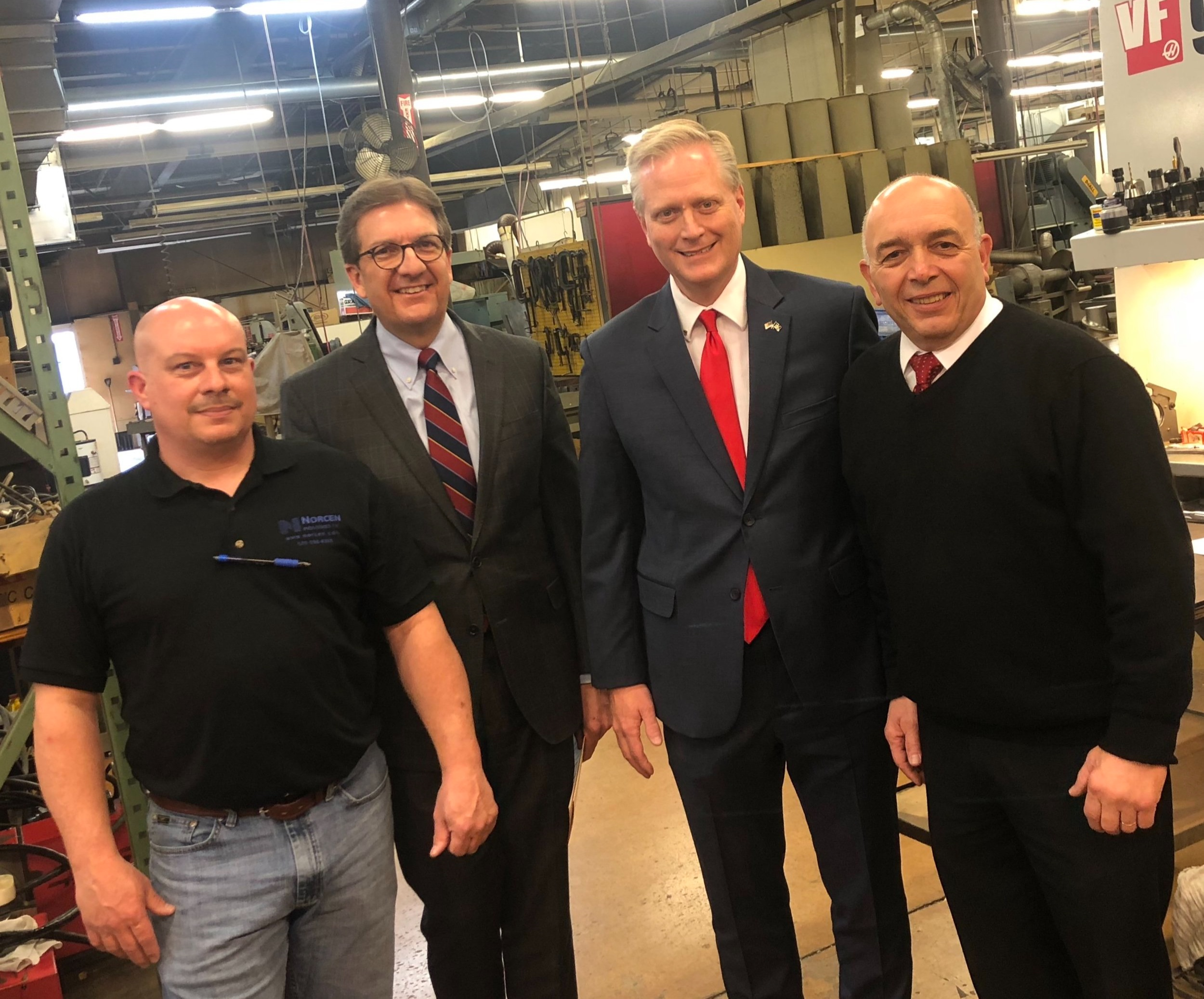 From left to right: Josh Williams, President, Norcen Industries; Gordon Denlinger, State Director, NFIB; Fred Keller; Tony Mussare, Lycoming County Commissioner.