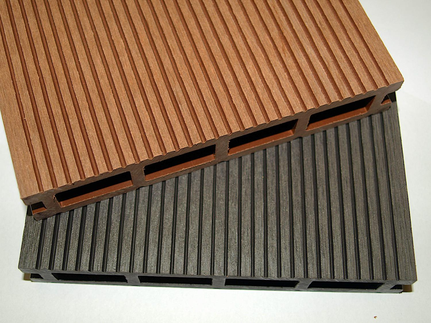 Composite grooved side charcoal cedar deck board