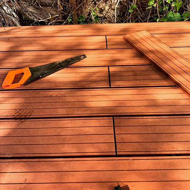 Stunning red wood composite decking