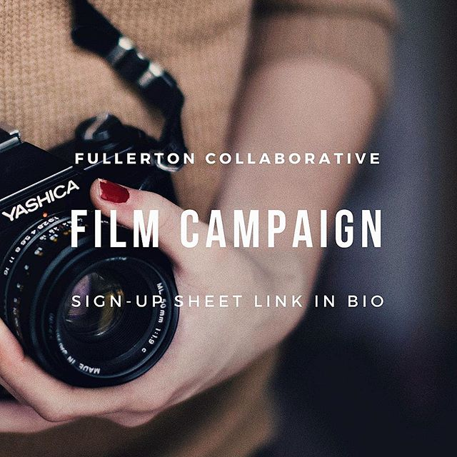 As you may know, the Fullerton Collaborative is creating a film to introduce our nonprofit and the diverse teams working behind it. Interviews should take no longer than 10 minutes, and the video is a great way to spread awareness of your organization. The sign-up link with all the details is in our Instagram bio. Next week is the final week to sign up, so be sure to check out the sign-up sheet. Hope to see you soon!