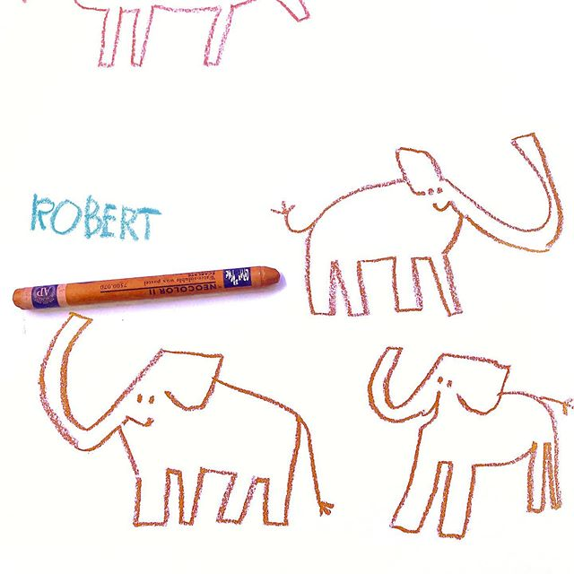Meet Robert, Lilli's sidekick in the story I am currently working on. In the story she draws an elephant from a book and he happens to come to live (he's a youngster, therefore no tusks yet). When I drew him he unfortunately remained a drawing. Too sad, as it would be so fun to be able to walk the neighbourhood with a playful elephant scribble creature 🐘 💕  If you haven't met Lilli, check out my last three posts. #elephant #character  #drawing #childrensillustrator #kinderbuchillustration #characterillustration #Zeichnung #Illustrationartists #Process #WIP #Drawings #Crayon #Experiment #Findinglilli #childrensillustrator  #kinderbuchillustration #kidlit #childrensbookillustration #kinderbuch  #Kinderbuchkunst