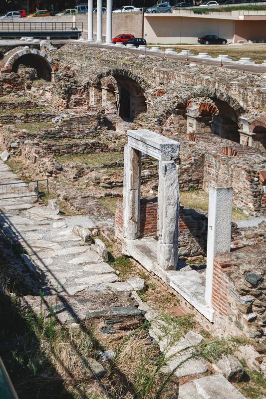 Ruins of Roman Forum in Thessaloniki