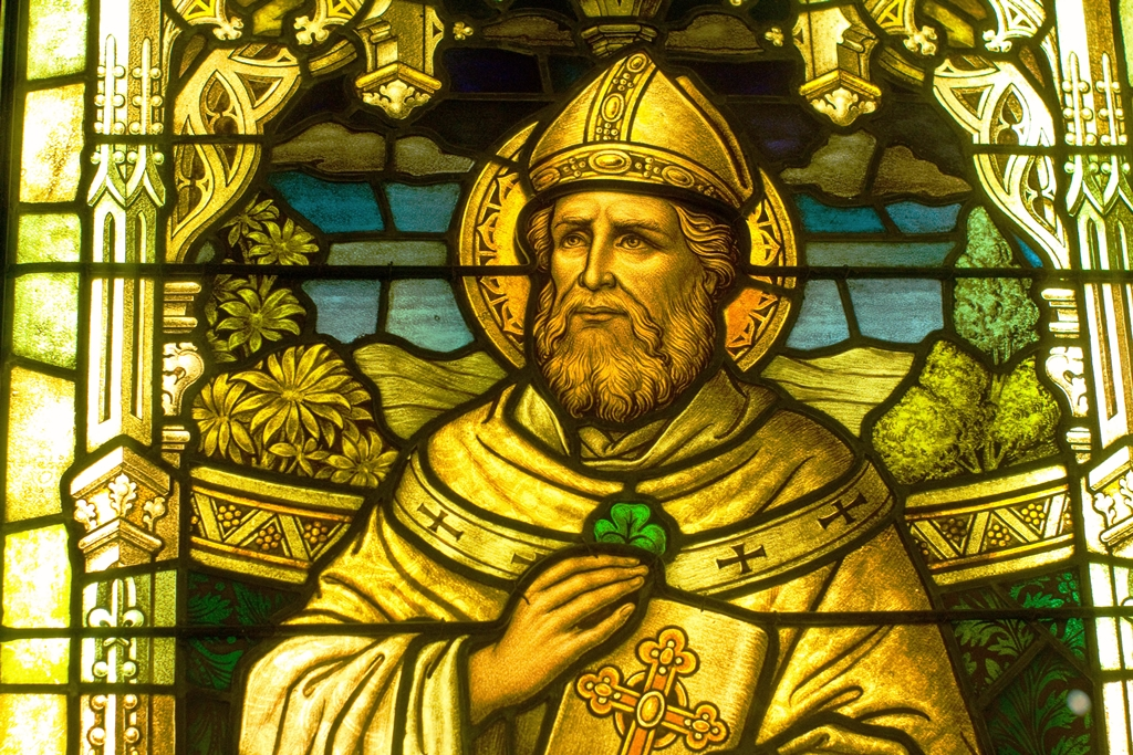 Stained Glass Image of Saint Patrick