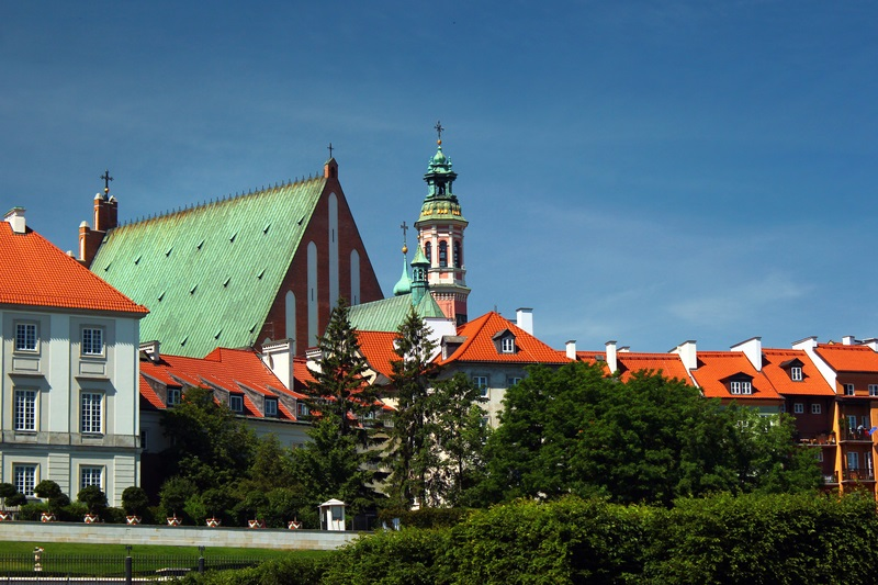 St. John`s Archcathedral and Royal Castle in Warsaw Old Town