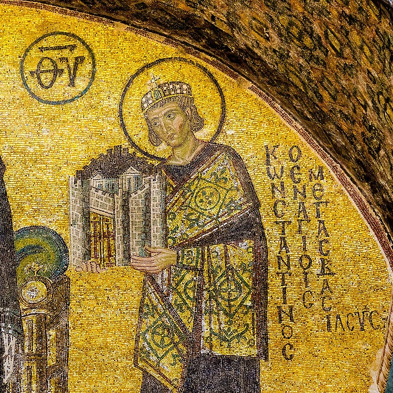 Mosaic of Constantine the Great in Hagia Sophia in Istanbul
