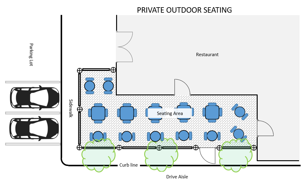 Picture of private outdoor seating requirements