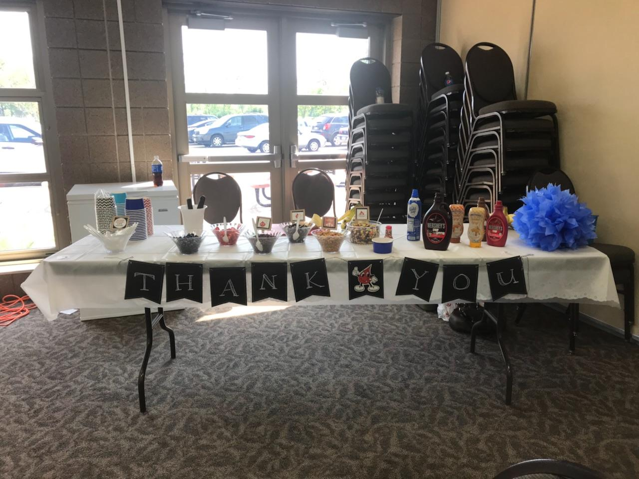 Picture of thank you table at Battle of the Badges 2018