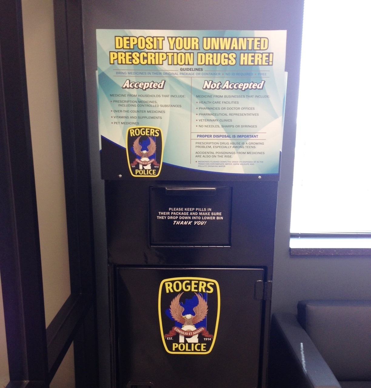 Picture of Drop Box at the Rogers Police Department