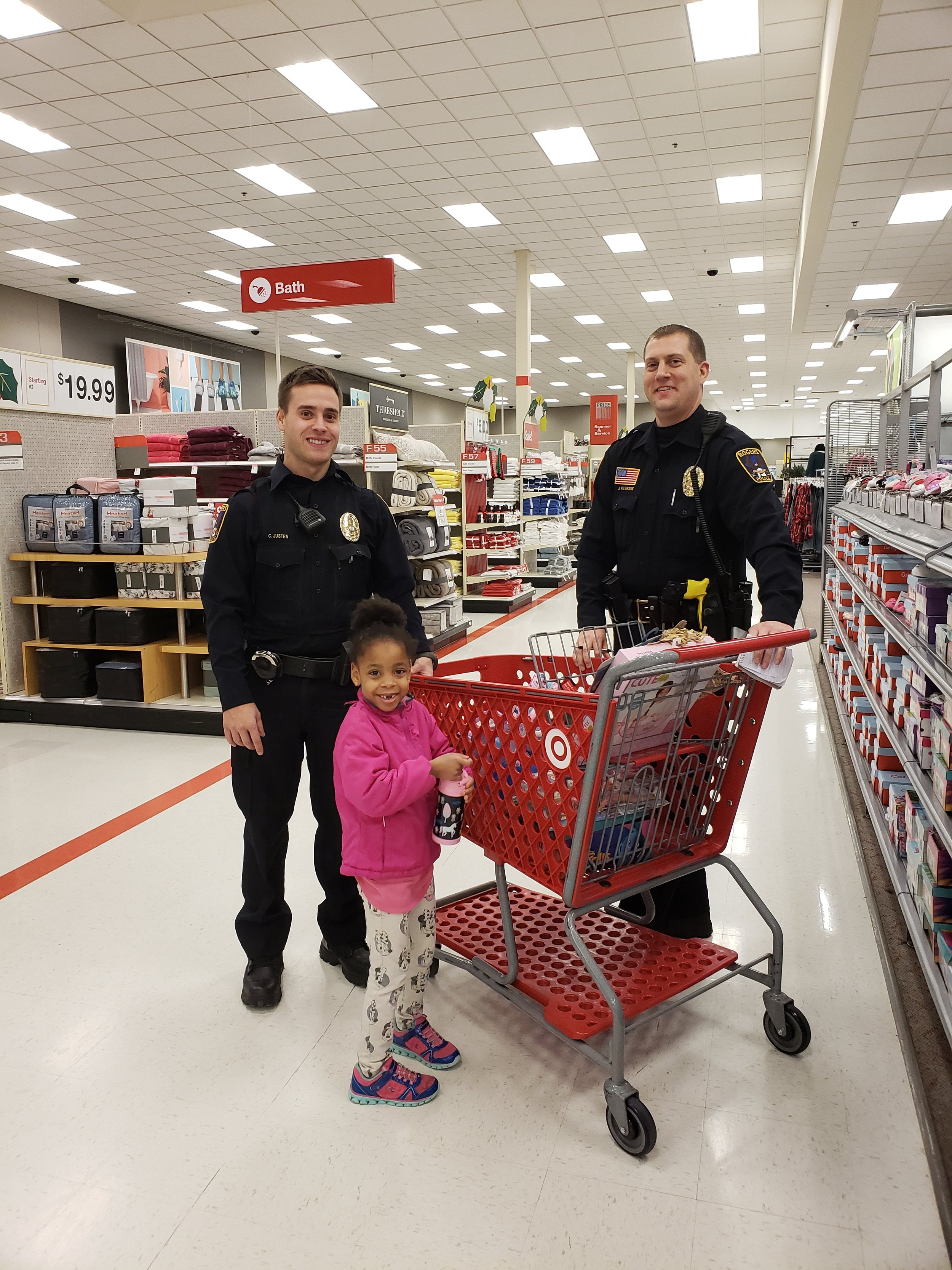 Picture at shop with a cop