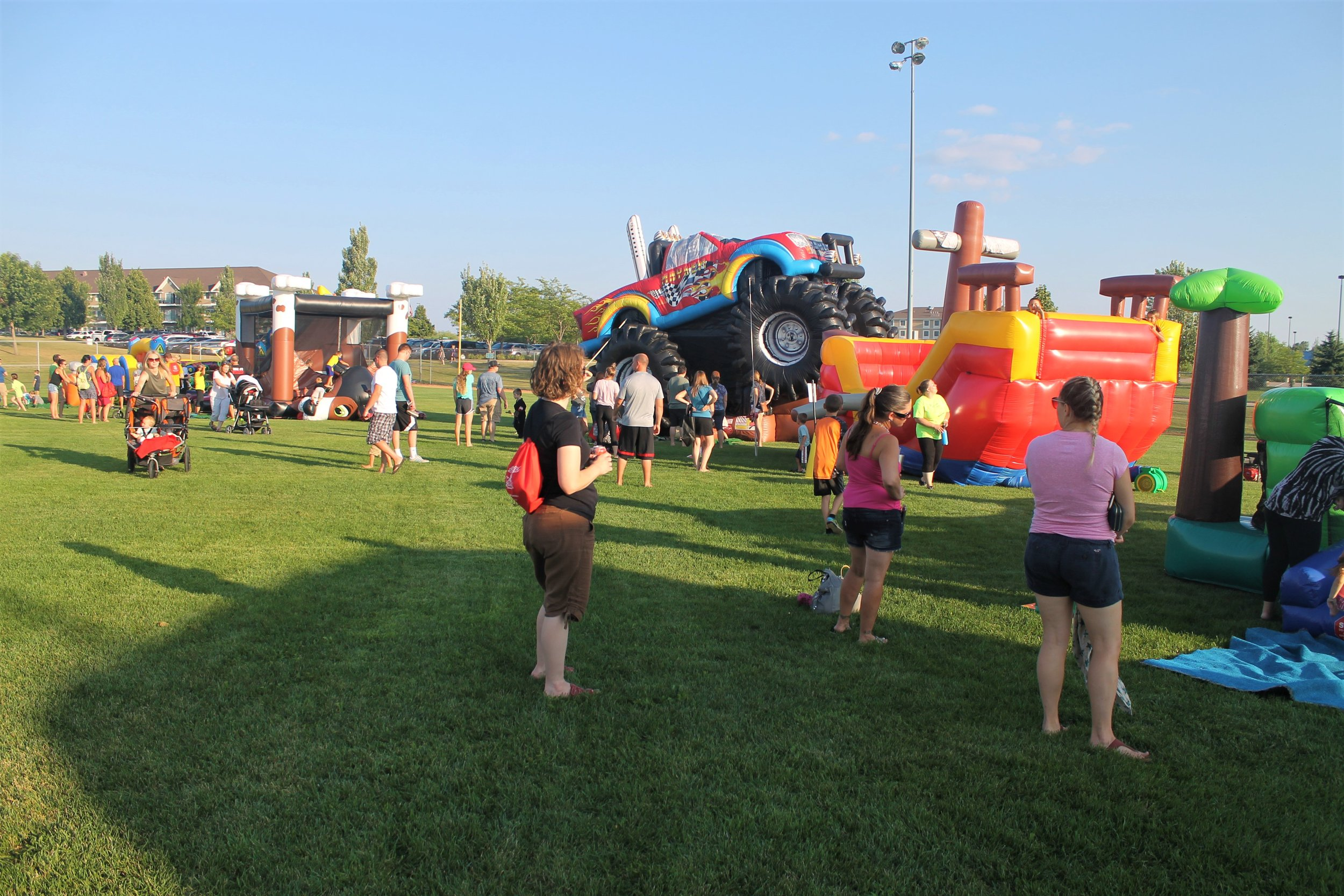 Picture of bounce houses at Family Fun Night 2018