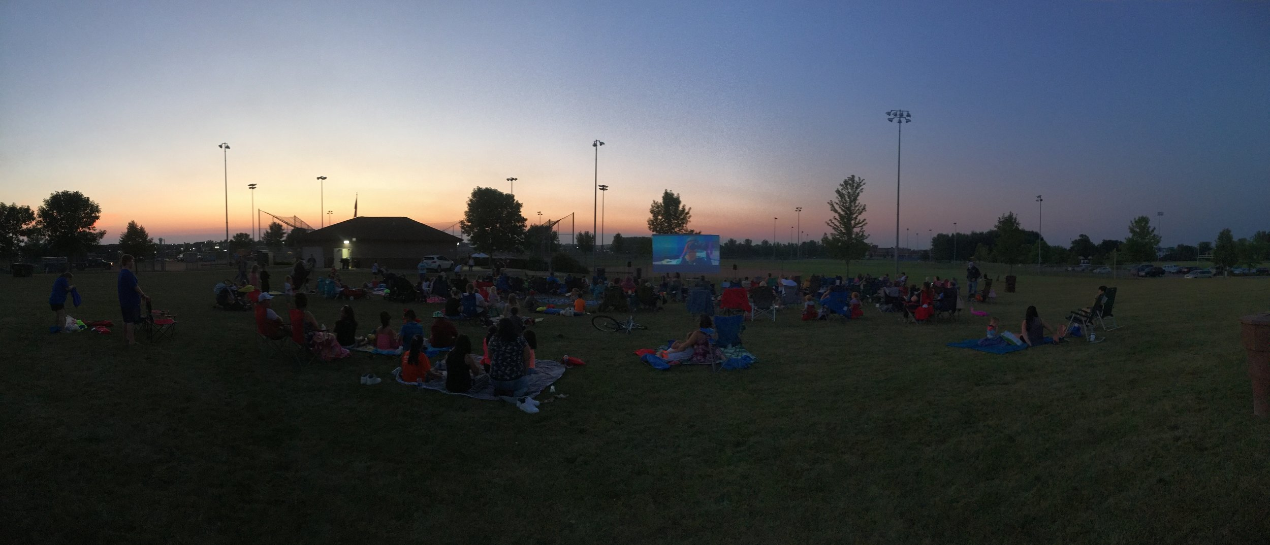 Picture of outdoor movie at Family Fun Night 2018
