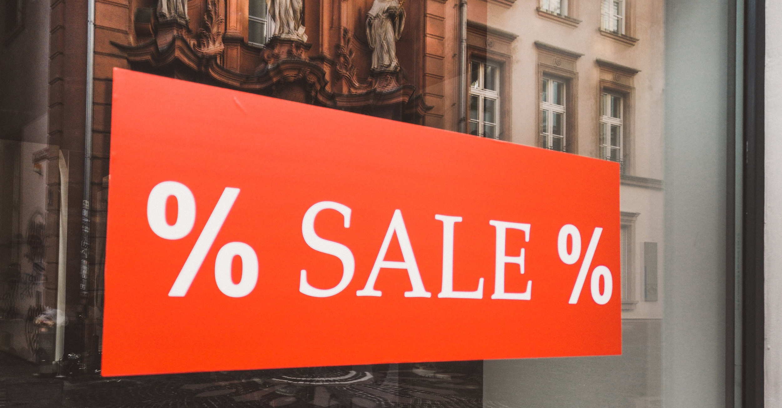 Picture of a temporary sale sign.