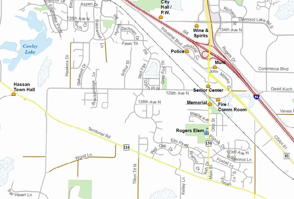 Road Map - The road map shows all roads in the City of Rogers.