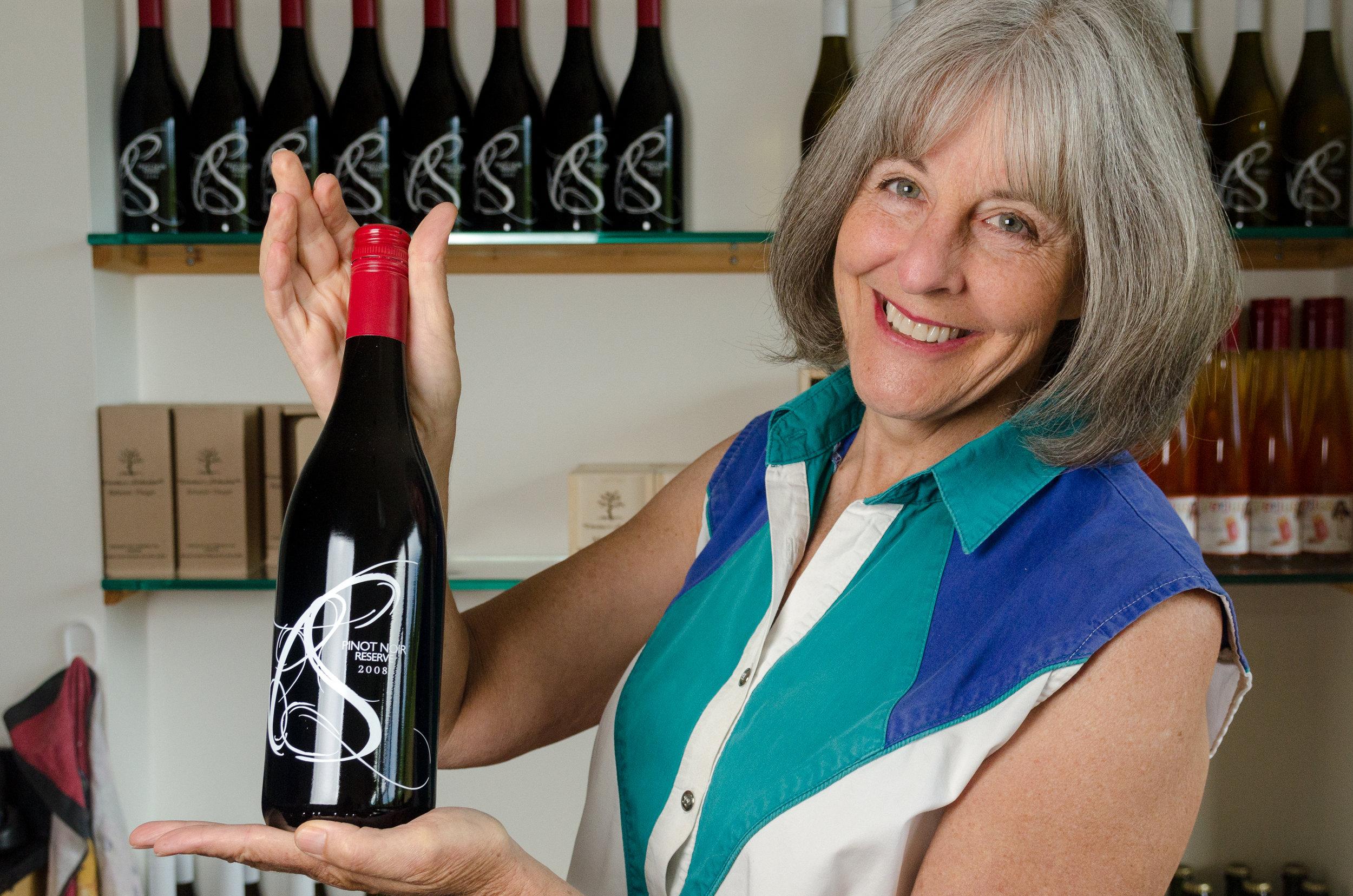 Marilyn Venturi in the Wine Shop Venturi Schulze Vineyards