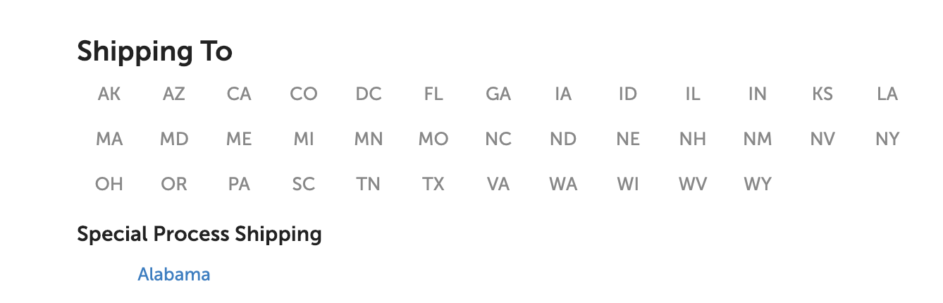 We ship to these select states.