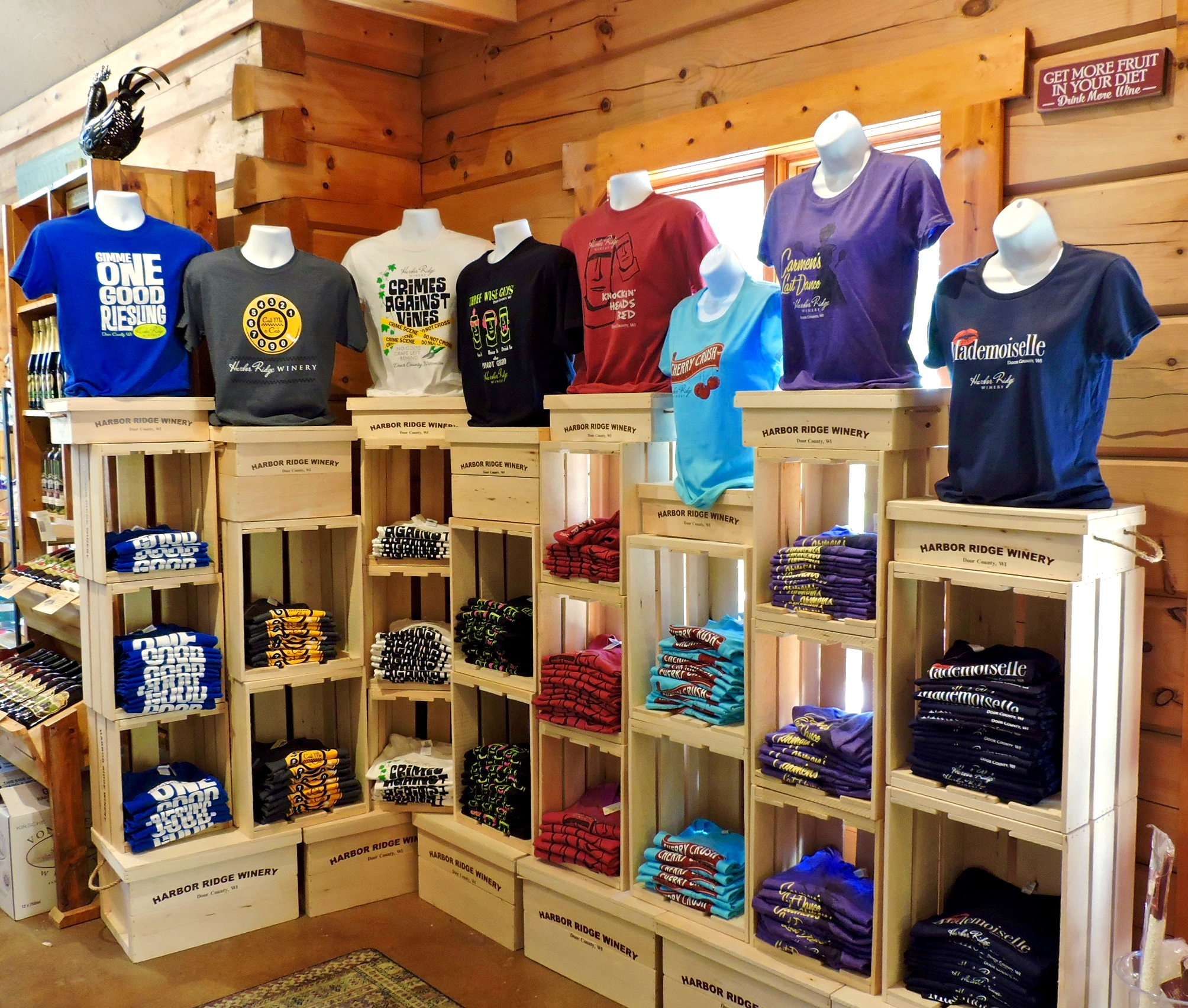 For those of you who want to shout your love of Harbor Ridge Winery from the rooftops, there are Harbor Ridge Winery t-shirts with your favorite wine labels. We have sizes ranging from Small – 3x Large.