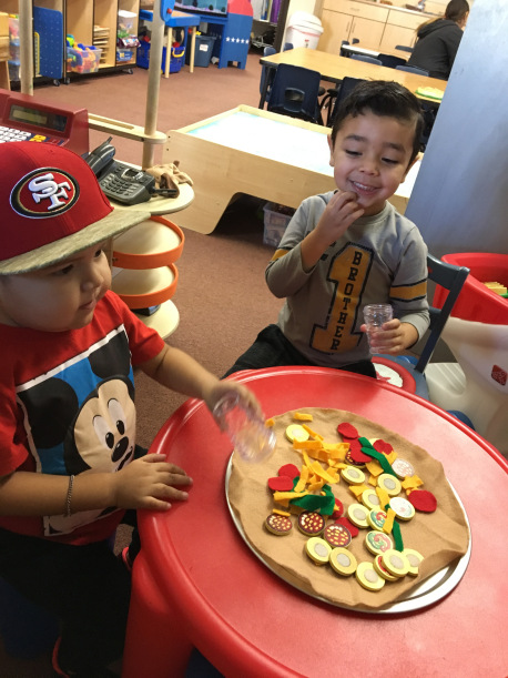 We transformed our Dramatic Play area into a Pizzeria! The children had fun rolling the dough, adding toppings, and pretending to eat their Pizza creations.