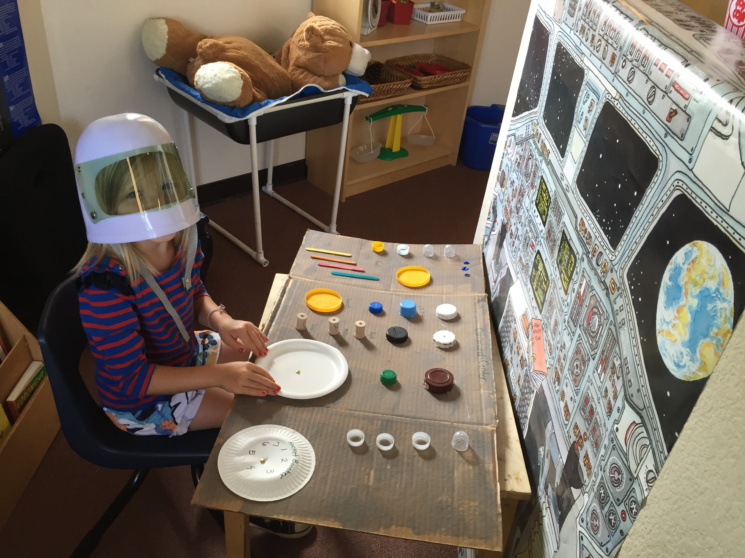 We had a blast this summer learning all about the sun, moon, stars, and planets! We pretended to get into our spaceship and took off to the moon! We even made it though a meteor shower!